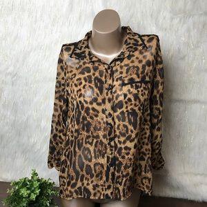 La Vie 89 | Chiffon Leopard Print Button Up Top